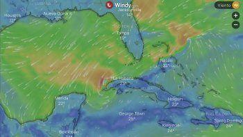 Imagen generada por el sitio Windy, donde se aprecia este fenómeno meteorológico.