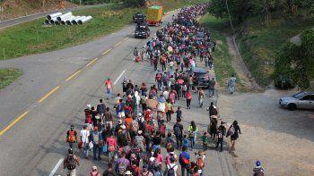 La caravana de cubanos en su camino por el territorio mexicano.