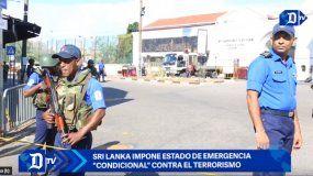 Policía de Sri Lanka custodio el lugar de los ataques.