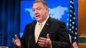 El secretario de Estado estadounidense, Mike Pompeo, ofrece una rueda de prensa en Washington D.C (Estados Unidos).