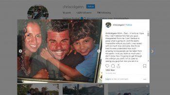 Colgann Jr. publicó en Instagram una foto del bote con sus padres, para expresar el dolor que siente por la irreparable pérdida.