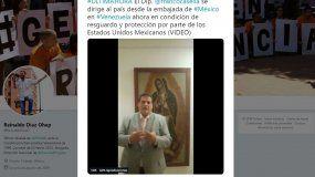 El diputadoFranco Casellaenvió un mensaje a los venezolanos desde el interior de la embajada de México en Caracas.