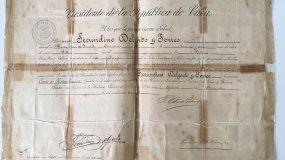 Carta de naturalización cubana firmada por Tomás Estrada Palma.