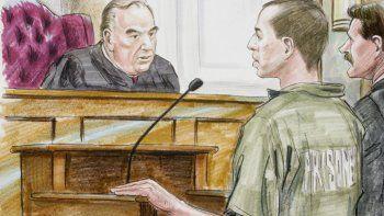 Esta ilustración recoge la comparecencia del talibán estadounidense al tribunal federal.