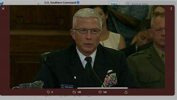 El almirante Craig Faller, jefe del Comando Sur de las Fuerzas Armadas de EEUU, en una foto publicada en la cuenta de Twitter de @Southcom.