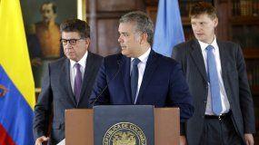 El presidente de Colombia, Iván Duque, declaraba a la prensa en Bogotá.
