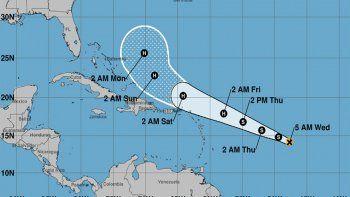 Proyección de la ruta que podría seguir el ciclón Jerry.
