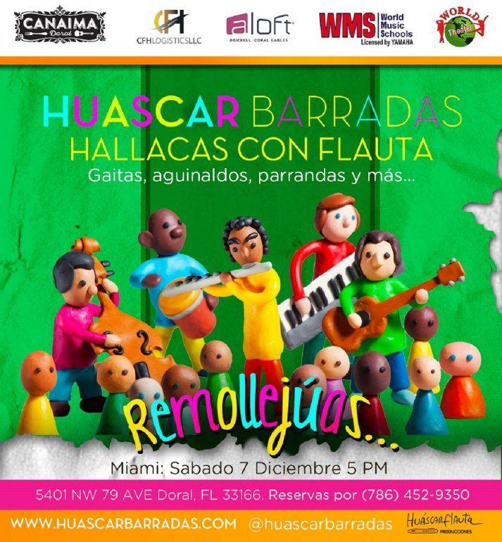 Este 7 de diciembre, a las 5:00 pm., en Canaima Doral, se presentará el espectáculo Hallacas Con Flauta, del músico Huescar Barradas.