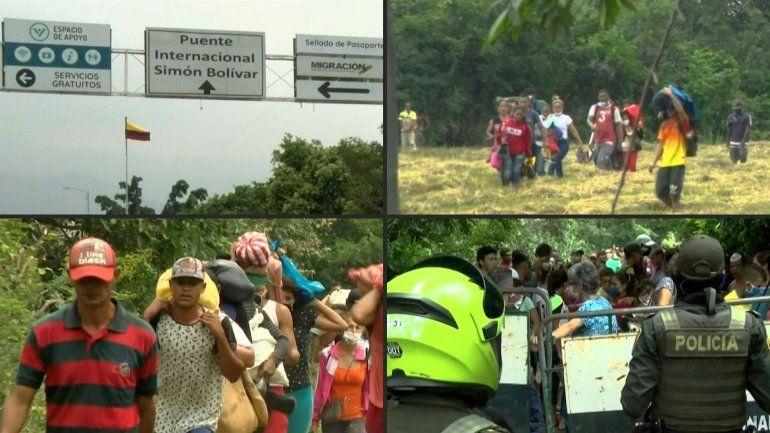 Venezolanos cruzan hacia Colombia a buscar alimentos pese al cierra realizado para evitar la propagación del coronavirus.