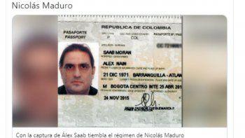 Fotografía del pasaporte de Alex Saab, publicado en las redes sociales.