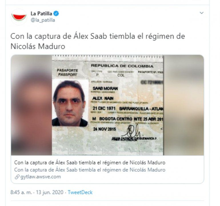 Fotografía del pasaporte de Alex Saab