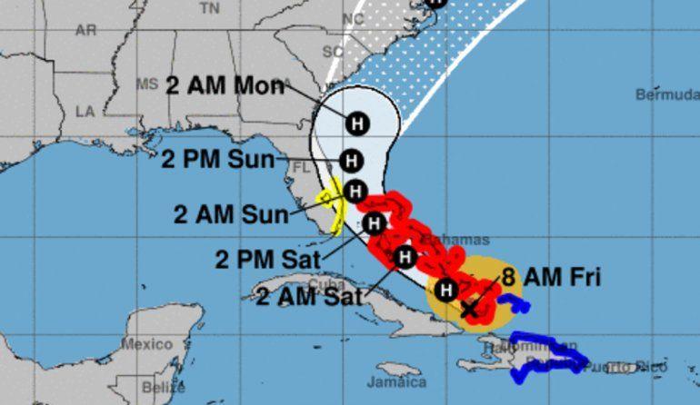 Proyección para huracán Isaías.