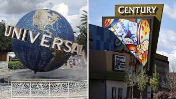 En esta combinación de fotografías el globo de Universal Studios el 5 de agosto de 2019 en Orlando, Florida, izquierda, y el cine Cinemark Century 16 en Aurora, Colorado, el 11 de mayo de 2016. Universal Pictures y Cinemark anunciaron el lunes 16 de noviembre de 2020 un acuerdo por varios años que garantiza cuatro fines de semana o 17 días de ventana de exhibición exclusiva en cines para películas de Universal y Focus Feature antes de que una película pueda estar disponible para renta on demand.