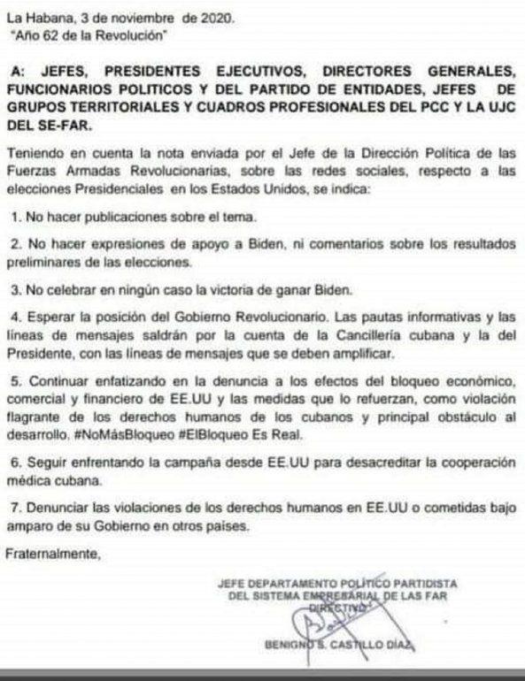 Un documento presuntamente emitido por Benigno Castillo Díaz