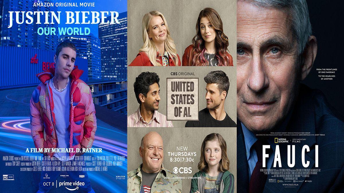 En esta combinación de fotos, el arte promocional de Justin Bieber: Our World, que se estrena el 8 de octubre en Amazon Prime, la serie de comedia United States of Al, cuya segunda temporada comienza el jueves en CBS, y el documental Fauci, disponible en Disney+.