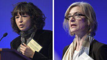 En esta combinación de imágenes de archivo, tomadas el 1 de diciembre de 2015, Emmanuelle Charpentier (izquierda) y Jennifer Doudna intervienen en una cumbre internacional de la Academia Nacional de Ciencias sobre seguridad y ética en la edición del genoma, en Washington. Charpentier y Doudna ganaron el Nobel de Química el 7 de octubre de 2020 por el desarrollo de un método de edición del genoma.