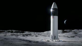 Ilustración proporcionada por SpaceX que muestra el diseño del módulo de alunizaje SpaceX Starship con el que se busca llevar a los primeros astronautas de la NASA a la superficie de la Luna bajo el programa Artemis.