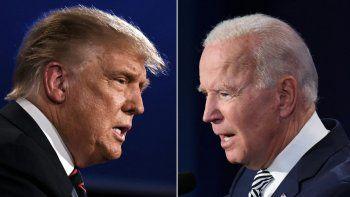 Combinación de imágenes de archivo muestra al presidente de los Estados Unidos, Donald Trump y alcandidato demócrata a la presidencia, Joe Biden, durante el primer debate presidencial en Cleveland, Ohio, en septiembre 29, 2020.