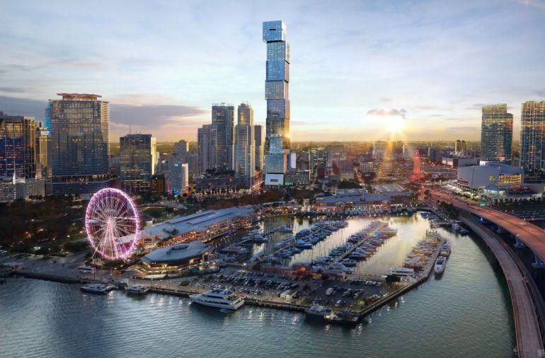 Imagen digitalizada de lo que será el Waldorf Astoria & Residencias Miami. Una torre de 100 pisos en la Bahía de Biscayne.