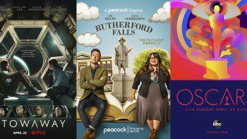 En esta combinación de fotografías el arte promocional de Stowaway, que se estrena el 22 de abril en Netflix, la nueva serie Rutherford Falls, que se estrena el 22 de abril en Peacock y los Oscar, que se transmitirán el 25 de abril por ABC.