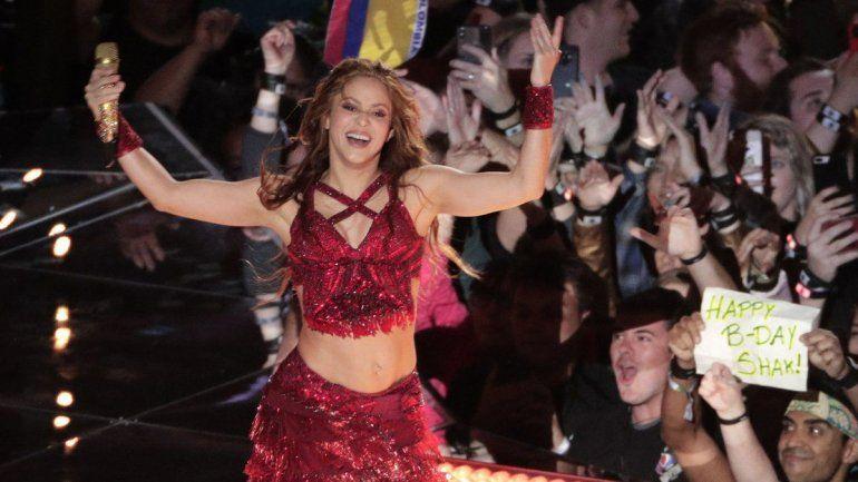 Shakira durante su presentación en el espectáculo de medio tiempo del Super Bowl 54 de la NFL entre los 49ers de San Francisco y los Chiefs de Kansas City el domingo 2 de febrero de 2020 en Miami Gardens