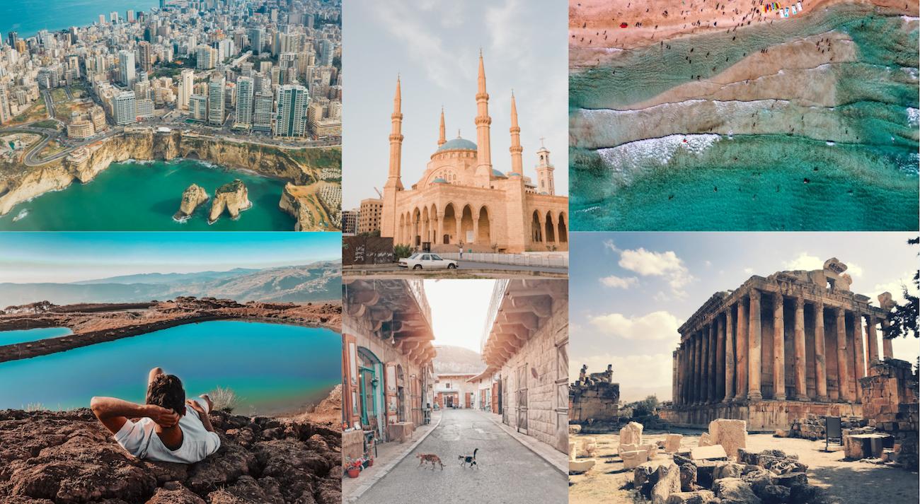 Collage que incluye algunos destinos en Líbano.