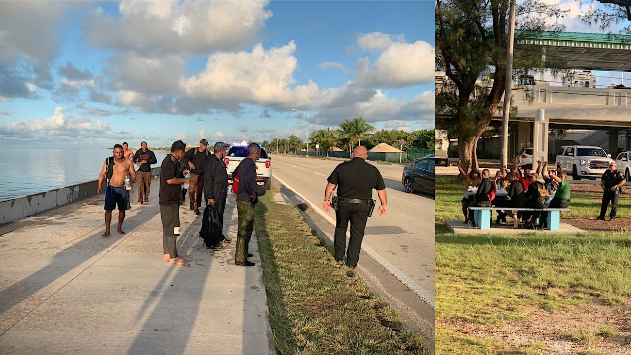Un collage con capturas de pantalla a las fotos publicadas en Twitter por la periodista Nancy Klingener, muestra a los cubanos mientras son atendidos por las autoridades en Key West.