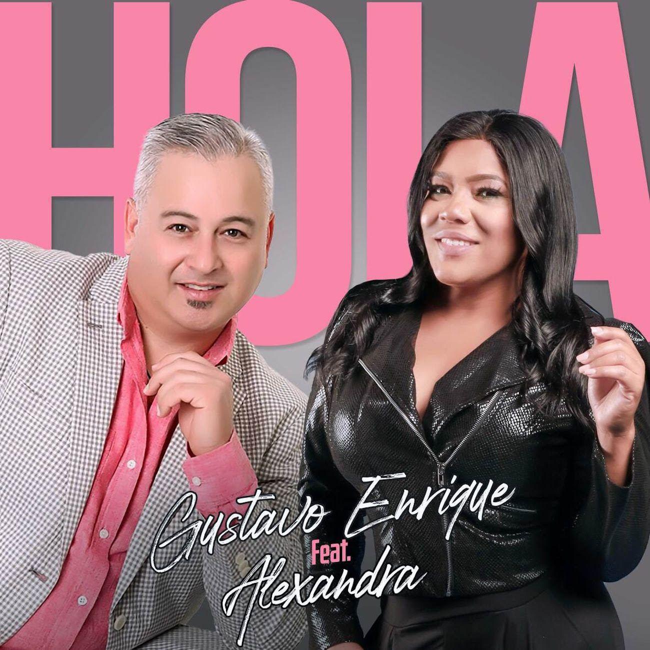 Portada promocional del sencillo Hola, de Gustavo Enrique y Alexandra.