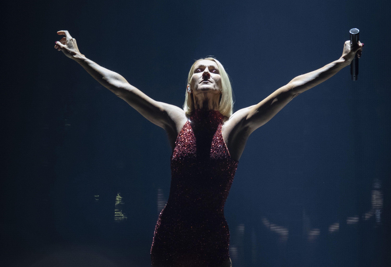 La cantante Celine Dion durante el primer concierto de su gira mundial Courage en la ciudad canadiense de Quebec, el 18 de septiembre de 2019.