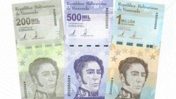 Los billetes de 200.000, 500.000 y 1 millón comenzarán a circular paulatinamente a partir del 8 de marzo de 2021, informó el ente emisor en un comunicado.