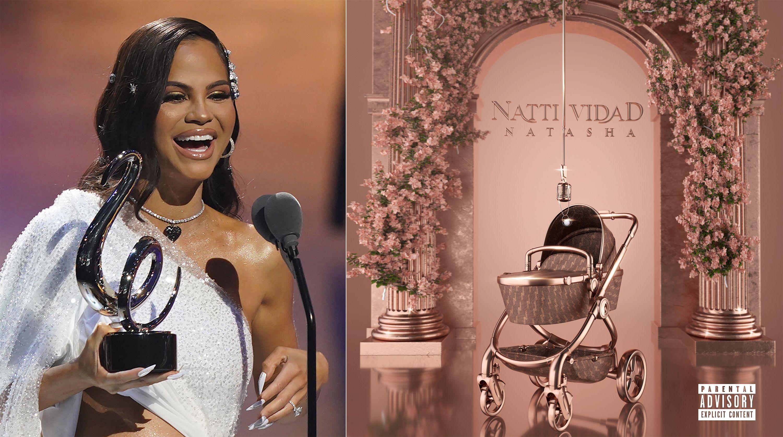 En esta combinación de fotos, Natti Natasha recibe el Premio Lo Nuestro a la Mejor canción tropical el 18 de febrero de 2021, a la izquierda, y la portada de su nuevo álbum, NattiVidad.