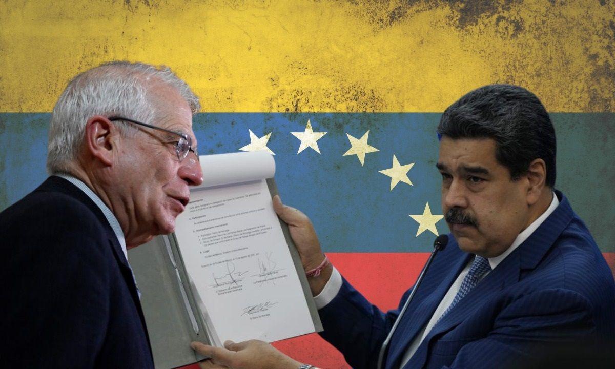 Josep Borrell, Alto Representante de la Unión Europea y el dictador de Venezuela, Nicolás Maduro.