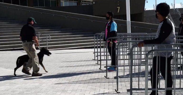El conjunto de Miami también optó por otro mecanismo de inspección anti COVID por si alguien le teme a los perros. En ese caso