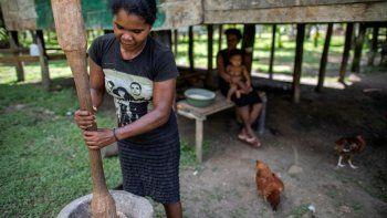 Una mujer indígena Miskita realiza el proceso de limpieza del arroz en la comunidad de Sangnilaya, Puerto Cabezas, Región Autónoma de la Costa Caribe Norte de Nicaragua, el 24 de septiembre de 2020.