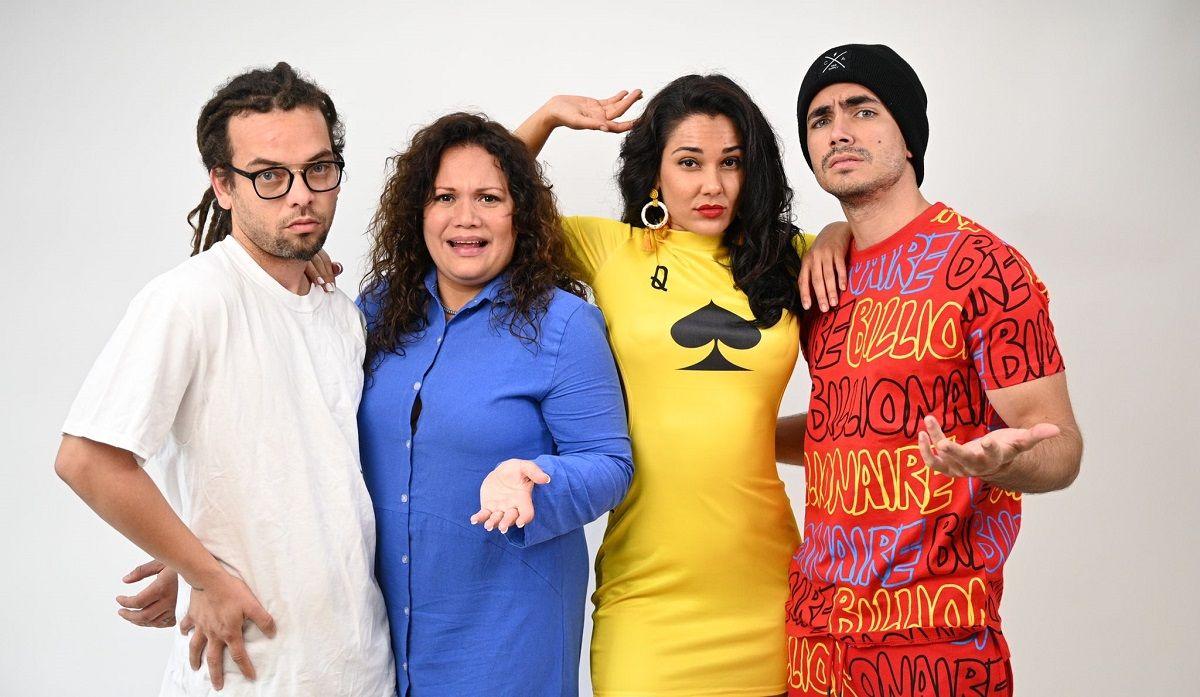 Néstor Jiménez, Rachel Pastor, Camila Arteche y Sian Chiong conforman el elenco de la obra de teatro Farándula: operación interpol, de Jazz Vilá.