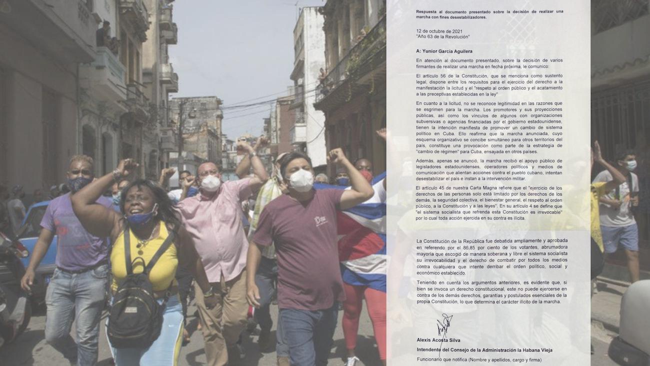 El régimen de Cuba publicó su respuesta a la Marcha Cívica por el Cambio para el 15 de noviembre de 2021.