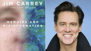 Esta foto combinada se muestra la portada del libro Memoirs and Misinformation, izquierda, y un retrato del autor y actor Jim Carrey.
