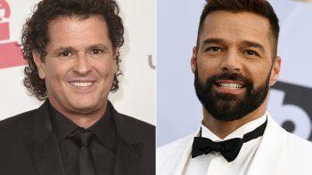 Carlos Vives posa en la ceremonia de los Latin Grammy en Las Vegas el 17 de noviembre de 2016, izquierda, y Ricky Martin llega a la entrega de los Premios SAG en Los Angeles el 27 de enero de 2019.