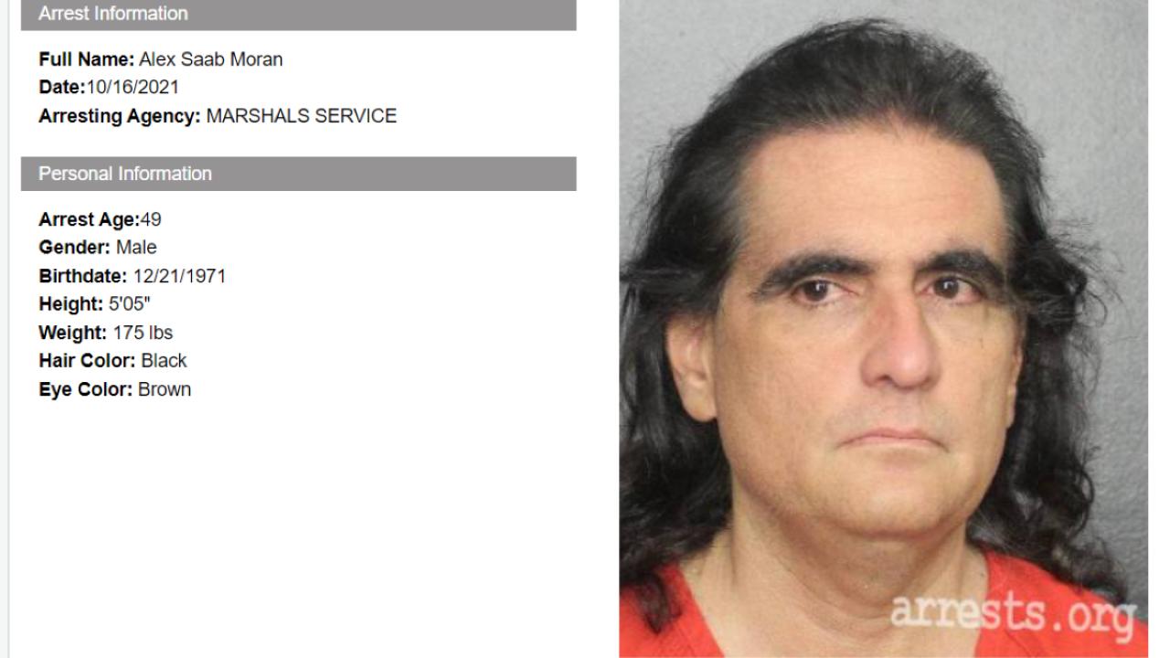 La ficha de arresto del empresario colombiano Alex Saab, extraditado a Estados Unidos.