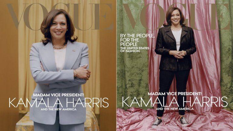 Esta combinación de fotos publicadas por Vogue muestra imágenes de la vicepresidenta electa Kamala Harris en la portada de sus números digitales e impresos de febrero. La jefa de la revista