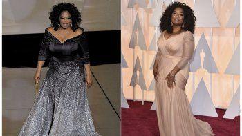 Una combinación de fotografías muestra a Oprah Winfrey en el escenario para presentar el premio a mejor documental en la 83 entrega de los Premios de la Academia en Los Ángeles el 27 de febrero de 2011, izquierda, y a Winfrey llegando a los Oscar en Los Ángeles el 22 de febrero de 2015.