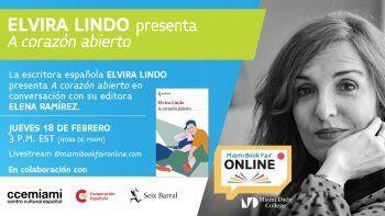 El CCEMiami invita a sus encuentros titulados Miércoles literarios. La escritora española Elvira Lindo presenta su texto A corazón abierto, el 18 de febrero.