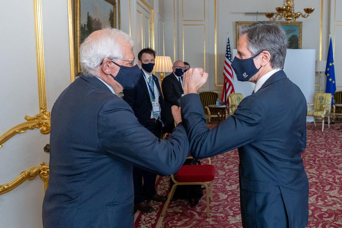 Secretario de Estado de EEUU Antony Blinken y Alto Representante de la UE Josep Borrell el 04MAY21 en Londres.