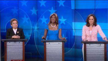 Las tres candidatas del distrito 27 se enfrentaron en Univision 23. De izq a derecha: Donna Shalala (demócrata), Mayra Joli (independiente) y María Elvira Salazar (republicana).