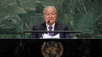 En esta fotografía de archivo del 26 de septiembre de 2018, el mandatario salvadoreño Salvador Sánchez Cerén habla ante la Asamblea General de las Naciones Unidas, en la sede de la ONU en Nueva York.