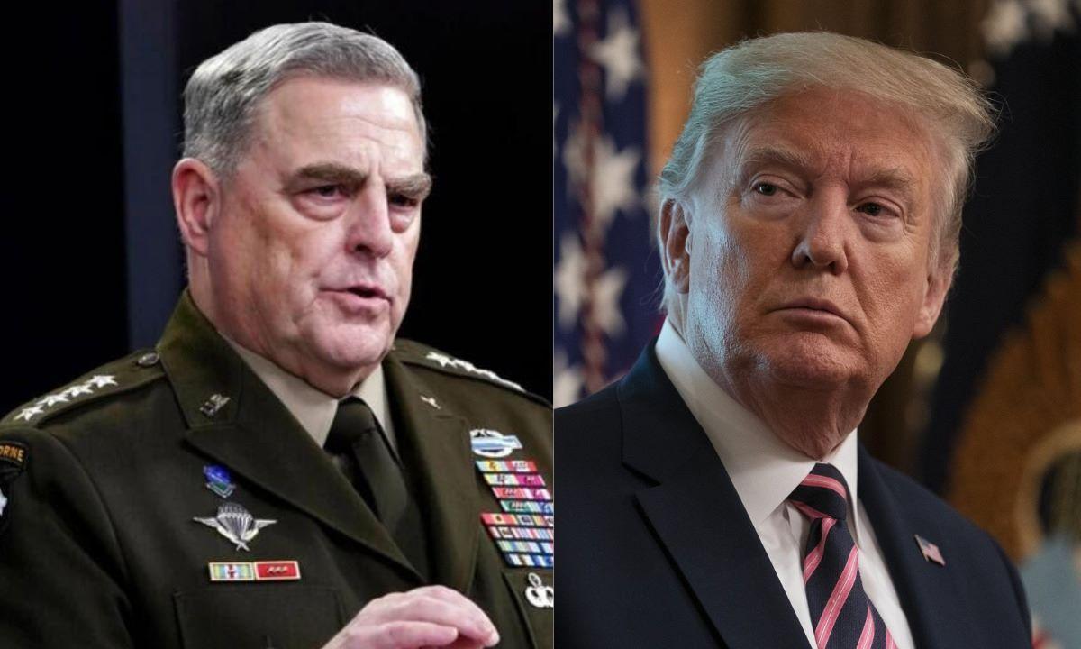 El jefe del Estado Mayor Conjunto del Ejército de EEUU, general Mark Milley, y el expresidente Donald Trump.