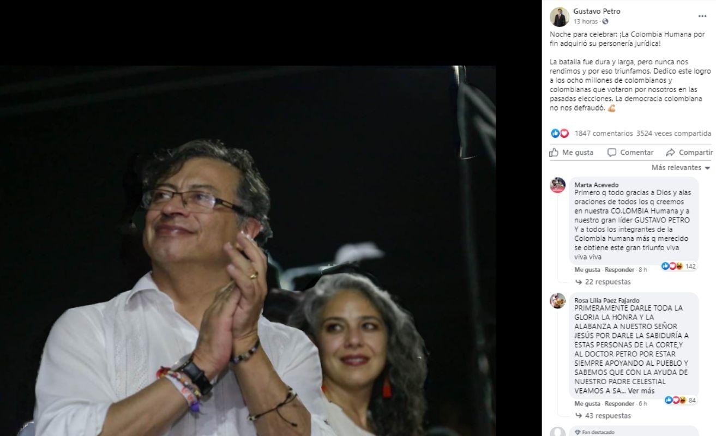 Captura de imagen del post difundido en facebook por el político Gustavo Petro.