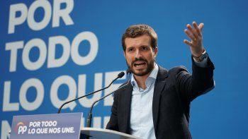 El presidente del PP y candidato del partido para el 10N, Pablo Casado, interviene en un acto electoral del Partido Popular en Vitoria (Euskadi/España) a 1 de noviembre de 2019.