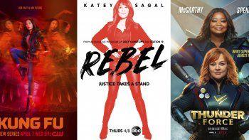 En esta combinación de fotos, el arte promocional para Kung Fu, una serie de TV que se estrena el 7 de abril en The CW; Rebel una serie de TV que se estrena el 8 de abril por ABC; y Thunder Force, una película de comedia que debuta el 9 de abril en Netflix.