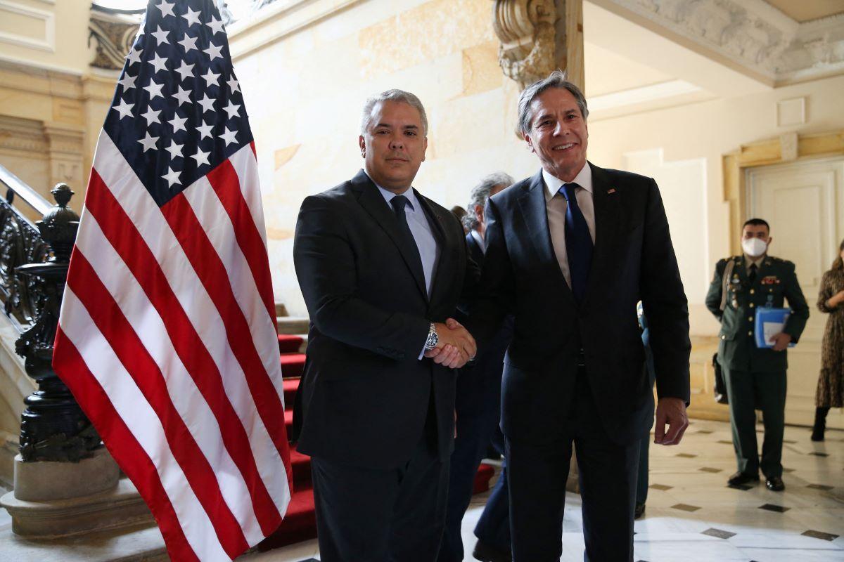 El presidente de Colombia, Iván Duque, recibe al secretario de Estado de Estados Unidos, Antony Blinken.